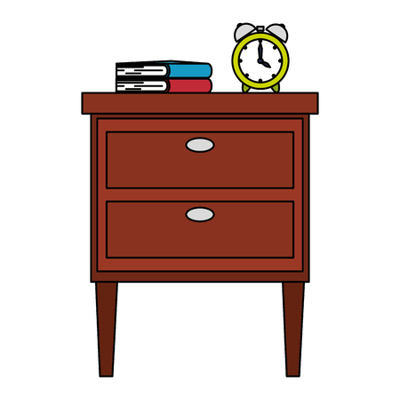 wooden drawer with books and alarm vector illustration design Stock Illustratie