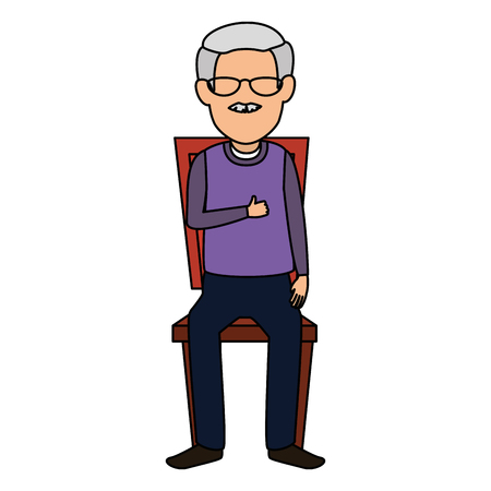 Lindo abuelo en la silla avatar ilustración Vectorial character design