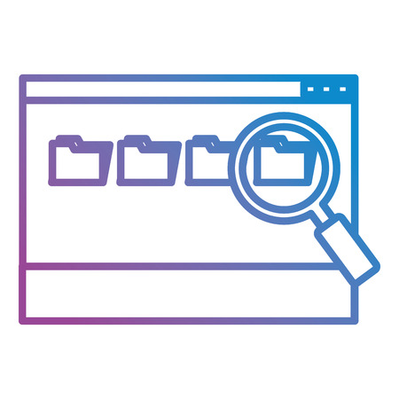 webpage with magnifying glass and folders vector illustration design