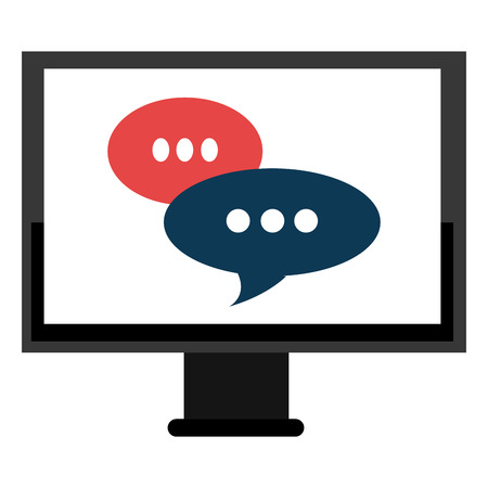 monitor computer with speech bubbles vector illustration design  イラスト・ベクター素材