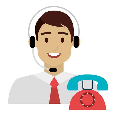 Agente del centro de llamadas con auriculares y teléfono, diseño de ilustraciones vectoriales
