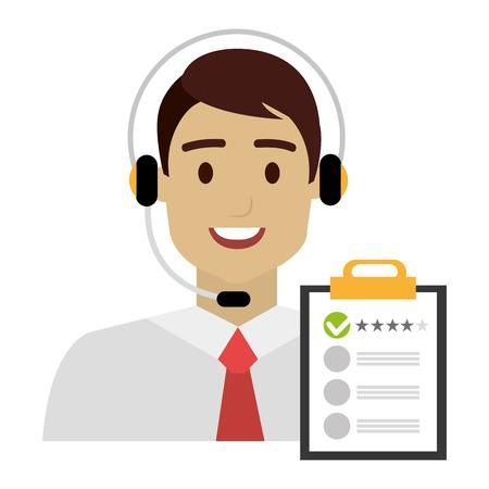 Agente del centro de llamadas con auriculares y lista de verificación, diseño de ilustraciones vectoriales Ilustración de vector