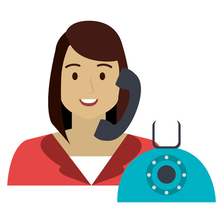 call center woman with telephone character vector illustration design