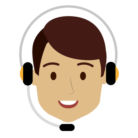 call center agent with headset vector illustration design 向量圖像