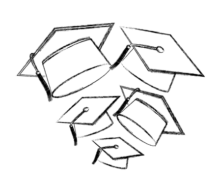 graduation hat accessory school design vector illustration sketch