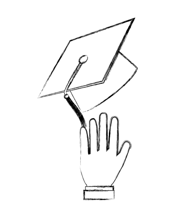 hand with graduation hat celebration vector illustration sketch Stok Fotoğraf - 112380722