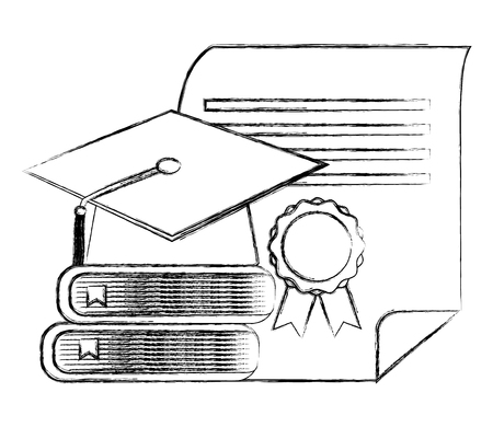 graduation hat stack books and diploma vector illustration sketch