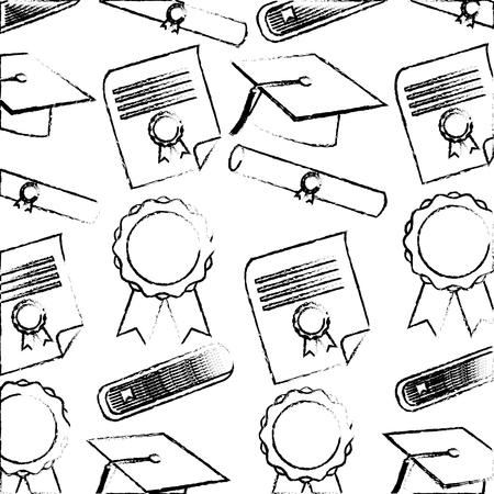 school graduation hat scroll diploma certificate pattern vector illustration sketch Illustration