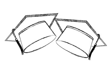 two school graduation hat accessories vector illustration sketch Banque d'images - 105525602