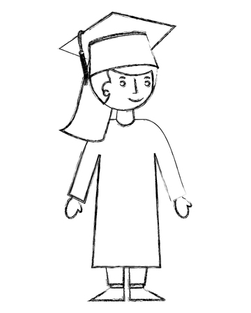 school girl in graduation clothes and hat vector illustration sketch Vectores