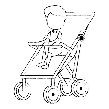 baby boy in cart vector illustration design Stock Vector - 112380750