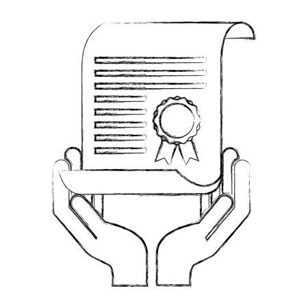 hand holding school certificate award vector illustration sketch