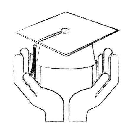 hand holding school graduation hat vector illustration sketch