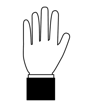 hand showing five fingers image vector illustration black and white