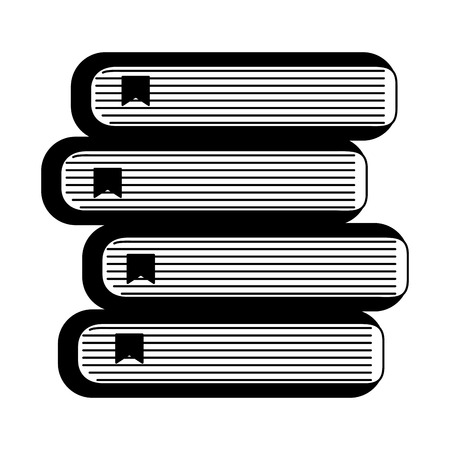 school stacked books literature knowledge vector illustration black and white Ilustracja