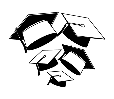 graduation hat accessory school design vector illustration black and white Ilustrace