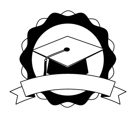 graduation hat school success emblem vector illustration black and white