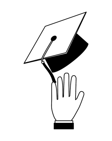 hand with graduation hat celebration vector illustration black and white Ilustração