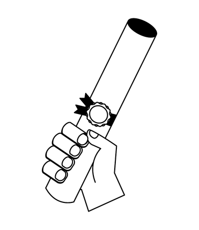 hand holding graduation certificate roll vector illustration black and white