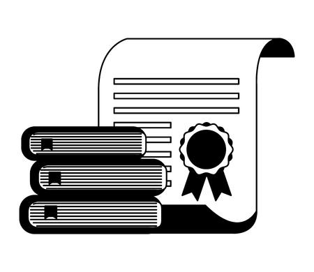 Ilustración de vector de premio de certificado escolar de libros apilados en blanco y negro Ilustración de vector