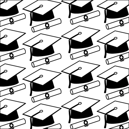 graduation hat and scroll certificates school pattern vector illustration black and white