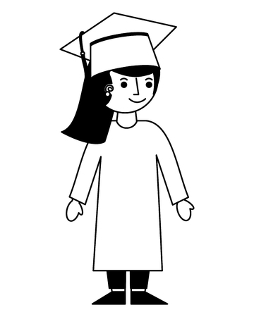 school girl in graduation clothes and hat vector illustration black and white