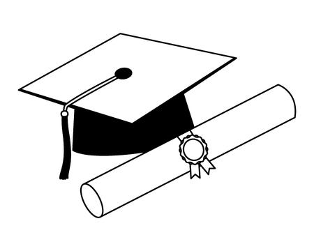 chapeau de graduation et certificat de défilement illustration vectorielle de succès noir et blanc
