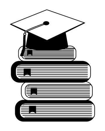 school stacked book and fresh apple vector illustration black and white