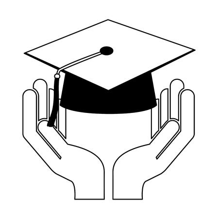 mano que sostiene la escuela, graduación, sombrero, vector, ilustración, bosquejo, blanco y negro
