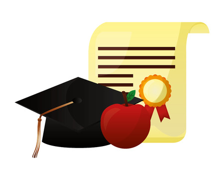 parchment diploma and hat graduation with apple vector illustration design
