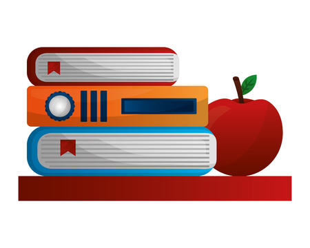library books with apple vector illustration design