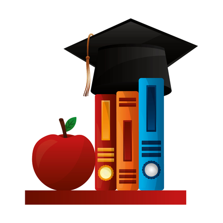 hat graduation with books and apple vector illustration design