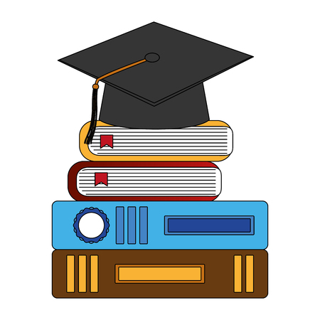 hat graduation with books vector illustration design