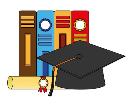 diploma di pergamena e cappello di laurea con disegno di illustrazione vettoriale di libri