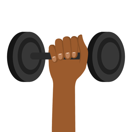hand lifting dumbell icon vector illustration design