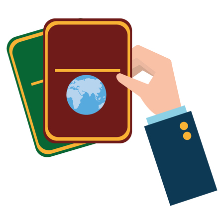 hand with passport document vector illustration design Stock fotó - 112380847