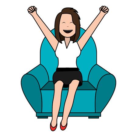 Feliz empresaria relajada en el sofá, diseño de ilustraciones vectoriales