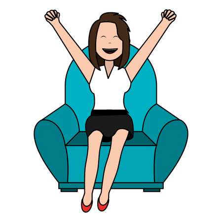 happy businesswoman relaxed in sofa vector illustration design