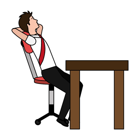 businessman relaxed in the office vector illustration design