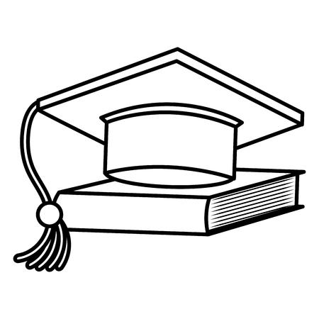 graduation hat with textbook vector illustration design Illustration