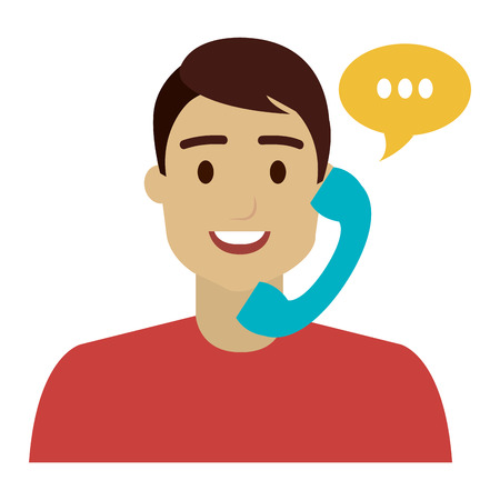 call center agent with telephone and speech bubble vector illustration design Illustration