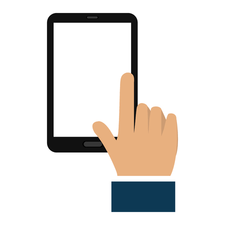 hand human with smartphone device vector illustration design
