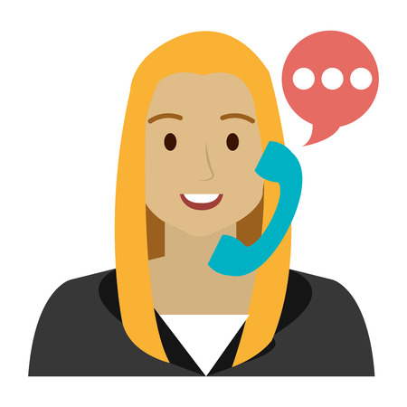 call center woman with telephone and speech bubble vector illustration Stok Fotoğraf - 105529203