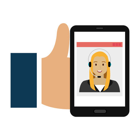 hand using smartphone with callcenter agent vector illustration design