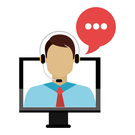 call center agent with headset and computer vector illustration design