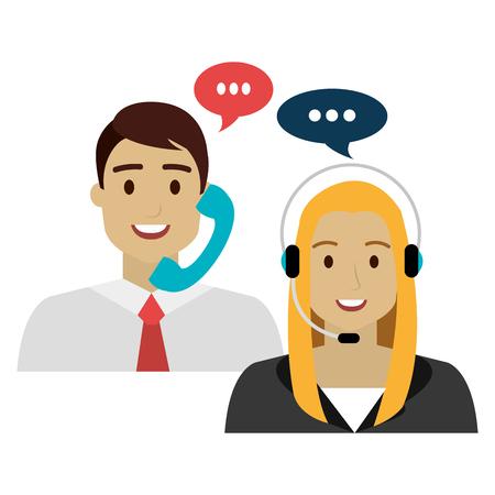 call center agenti avatar caratteri illustrazione vettoriale design
