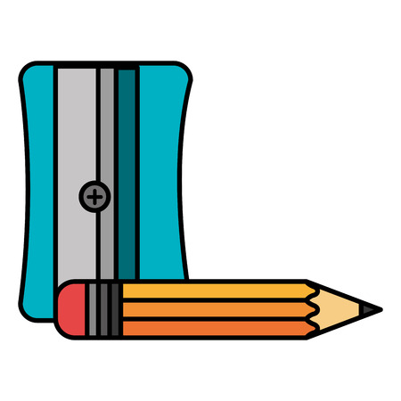 sharpener with pencil school supply vector illustration design