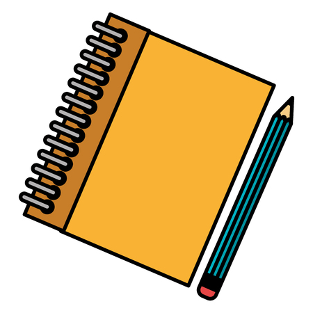 notebook school with pencil vector illustration design Çizim