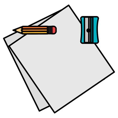 notebook paper sheet with pencil and sharpener vector illustration design Stock fotó - 105529283