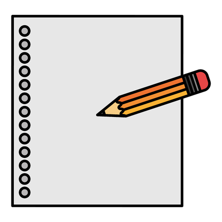 notebook paper sheet with pencil vector illustration design Ilustracja